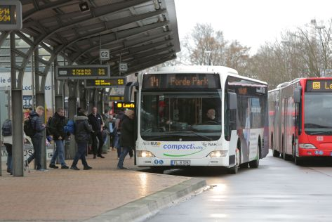 Die Stadtbus Linie 14 am Flensburger ZOB