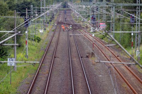 Bahnstrecke von Flensburg nach Padborg in Dänemark.